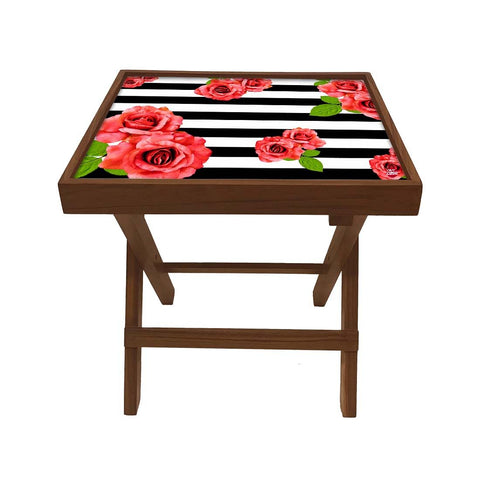 Folding Side Table - Teak Wood - Black And White Floral