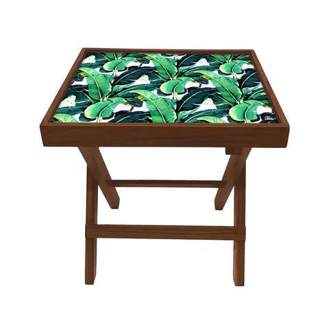 Folding Side Table - Teak Wood - Green Leaves Tropical