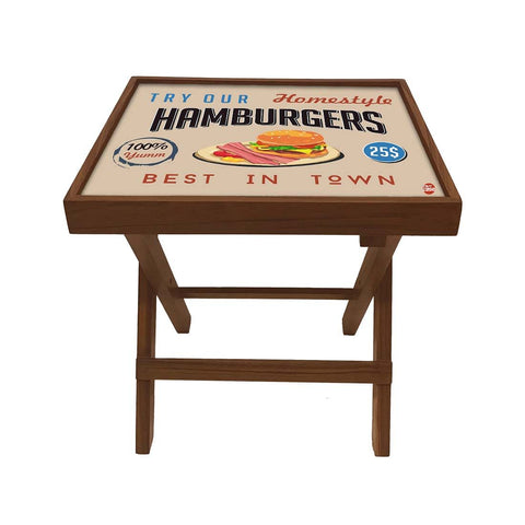 Folding Side Table - Teak Wood - Retro Diner Style Burgers