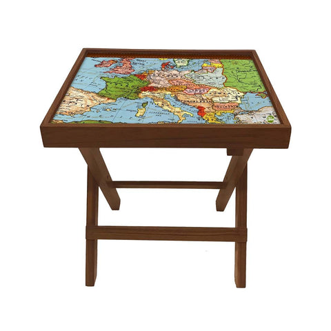 Folding Side Table - Teak Wood - Atlantic Map