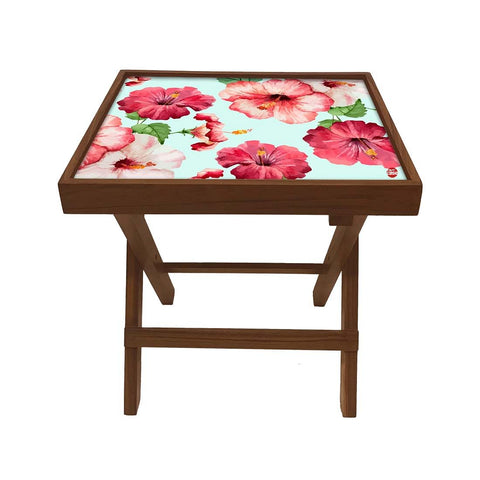 Folding Side Table - Teak Wood - Hibiscus Love
