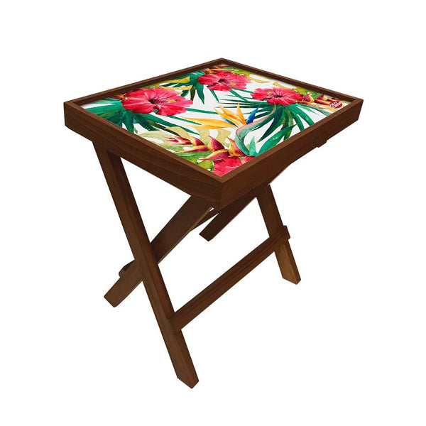 Folding Side Table - Teak Wood - Hibiscus