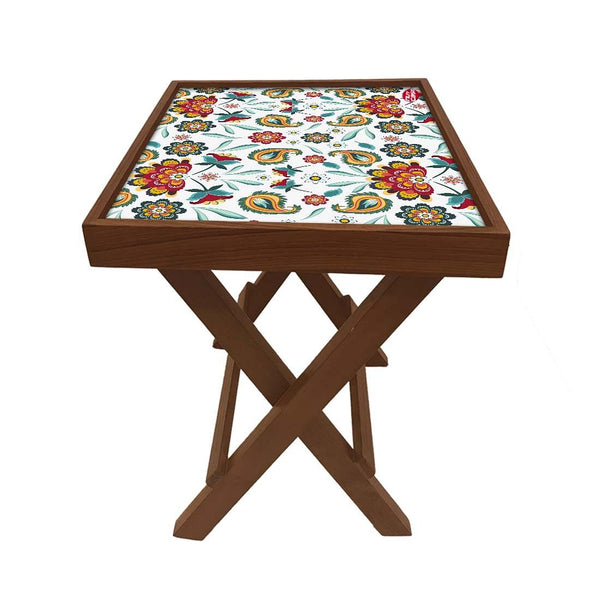 Folding Side Table - Teak Wood - Beautiful Tropical Design