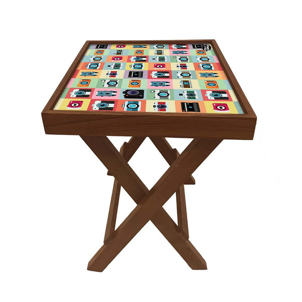 Folding Side Table - Teak Wood - Camera