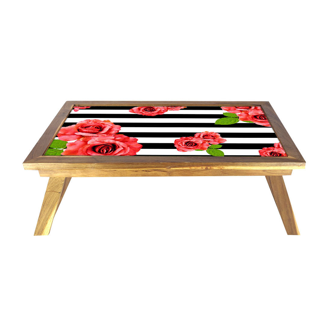 Folding Laptop Table For Bed Breakfast Tables -Floral Stripes