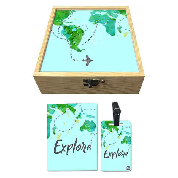Passport Cover Luggage Tag Wooden Gift Box Set - Explore