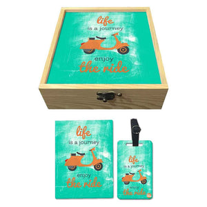 Passport Cover Luggage Tag Wooden Gift Box Set - Life is a journey