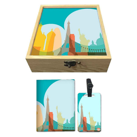 Passport Cover Luggage Tag Wooden Gift Box Set - Eight Wonders