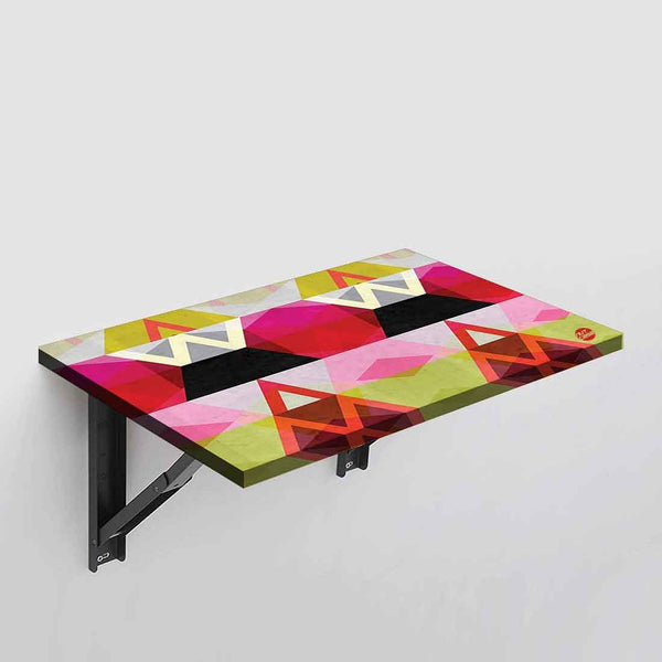 Wall Mounted Folding Study Table Desk - Pink Geometric