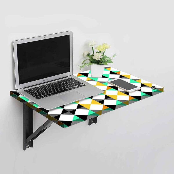 Wall Mounted Folding Study Table Desk - Neon Geometric