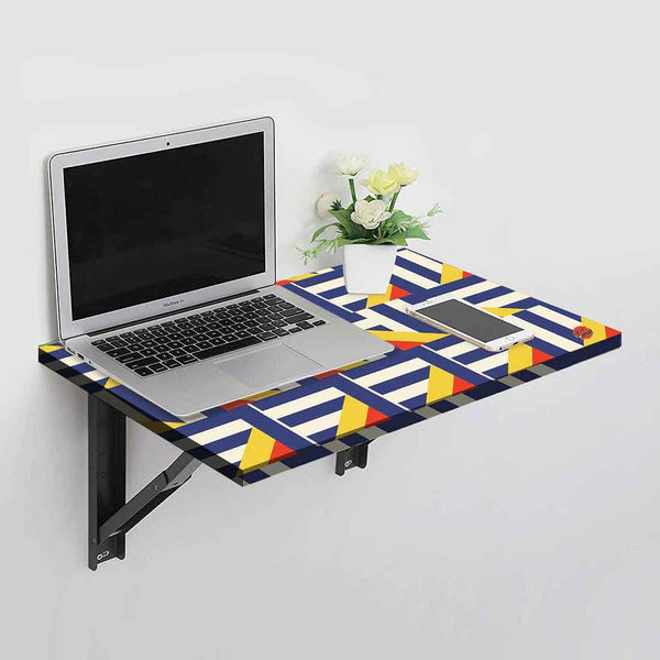 Wall Mounted Folding Study Table Desk - Blue Geometric