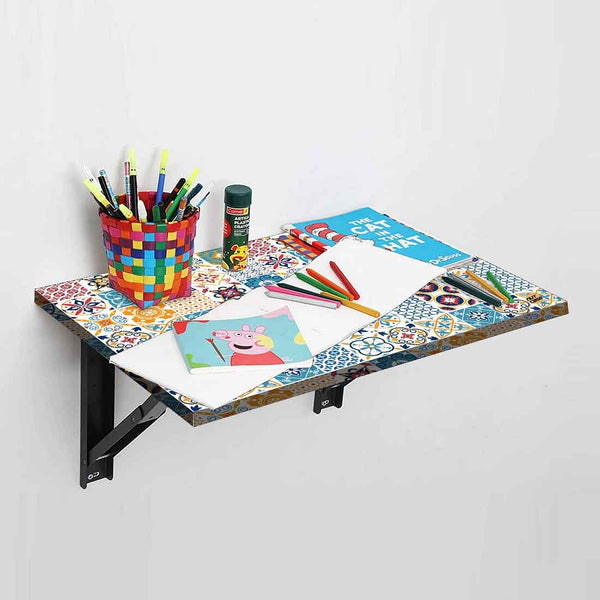 Wall Mounted Folding Study Table Desk - Spanish Tile Style