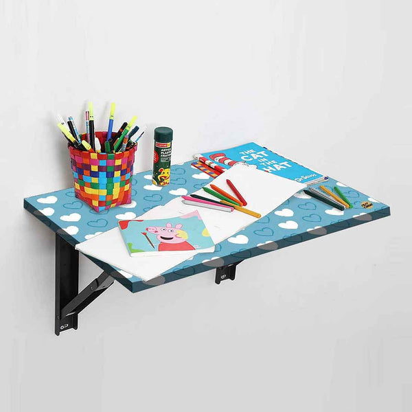 Study Table For Kids - Wall Mounted -  Blue Hearts