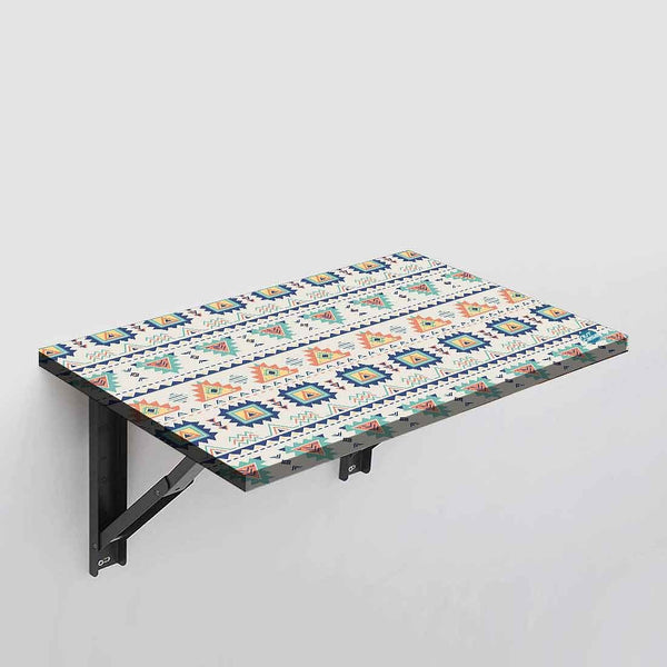 Wall Mounted Folding Study Table -  Aztec Pastel