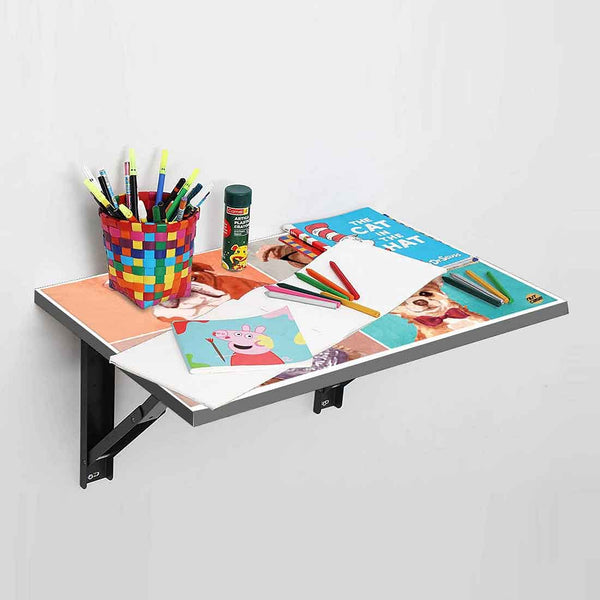 Wall Mounted Folding Study Table -  Cute Dogs