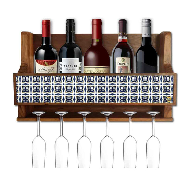 Nutcase Designer Wooden Wine Rack Gloss Holder, Teak Wood Wall Mounted Wine  Cabinet , 5 bottle Hangers for 6 Wine Glasses -