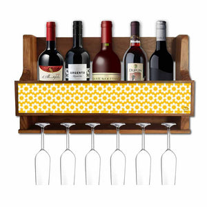 Nutcase Designer Wooden Wine Rack Gloss Holder, Teak Wood Wall Mounted Wine  Cabinet , 5 bottle Hangers for 6 Wine Glasses -  Yellow Polka