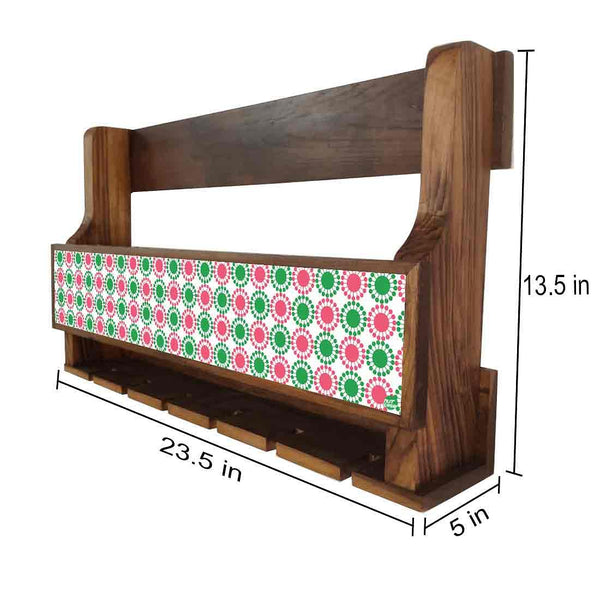 Nutcase Designer Wooden Wine Rack Gloss Holder, Teak Wood Wall Mounted Wine  Cabinet , 5 bottle Hangers for 6 Wine Glasses -  Pink Green  Polka
