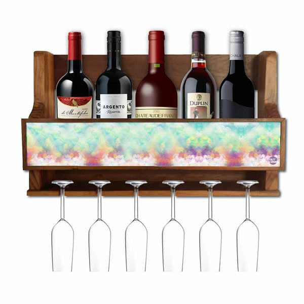 Nutcase Designer Wooden Wine Rack Gloss Holder, Teak Wood Wall Mounted Wine  Cabinet , 5 bottle Hangers for 6 Wine Glasses -  Cloudy