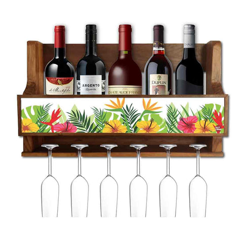 Nutcase Designer Wooden Wine Rack Gloss Holder, Teak Wood Wall Mounted Wine  Cabinet , 5 bottle Hangers for 6 Wine Glasses -  Floral