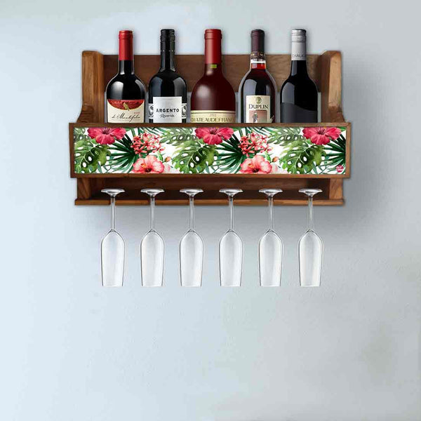 Nutcase Designer Wooden Wine Rack Gloss Holder, Teak Wood Wall Mounted Wine  Cabinet , 5 bottle Hangers for 6 Wine Glasses -  Sweet Flowers