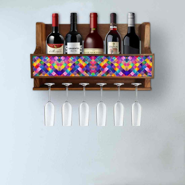 Nutcase Designer Wooden Wine Rack Gloss Holder, Teak Wood Wall Mounted Wine  Cabinet , 5 bottle Hangers for 6 Wine Glasses -  Colorful Burlap