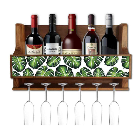Nutcase Designer Wooden Wine Rack Gloss Holder, Teak Wood Wall Mounted Wine  Cabinet , 5 bottle Hangers for 6 Wine Glasses -  Monstera Jungle