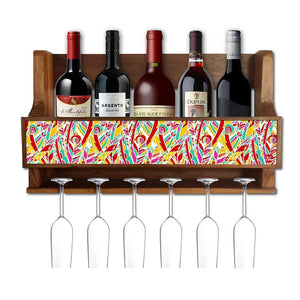 Nutcase Designer Wooden Wine Rack Gloss Holder, Teak Wood Wall Mounted Wine  Cabinet , 5 bottle Hangers for 6 Wine Glasses -  Rainbow feathers