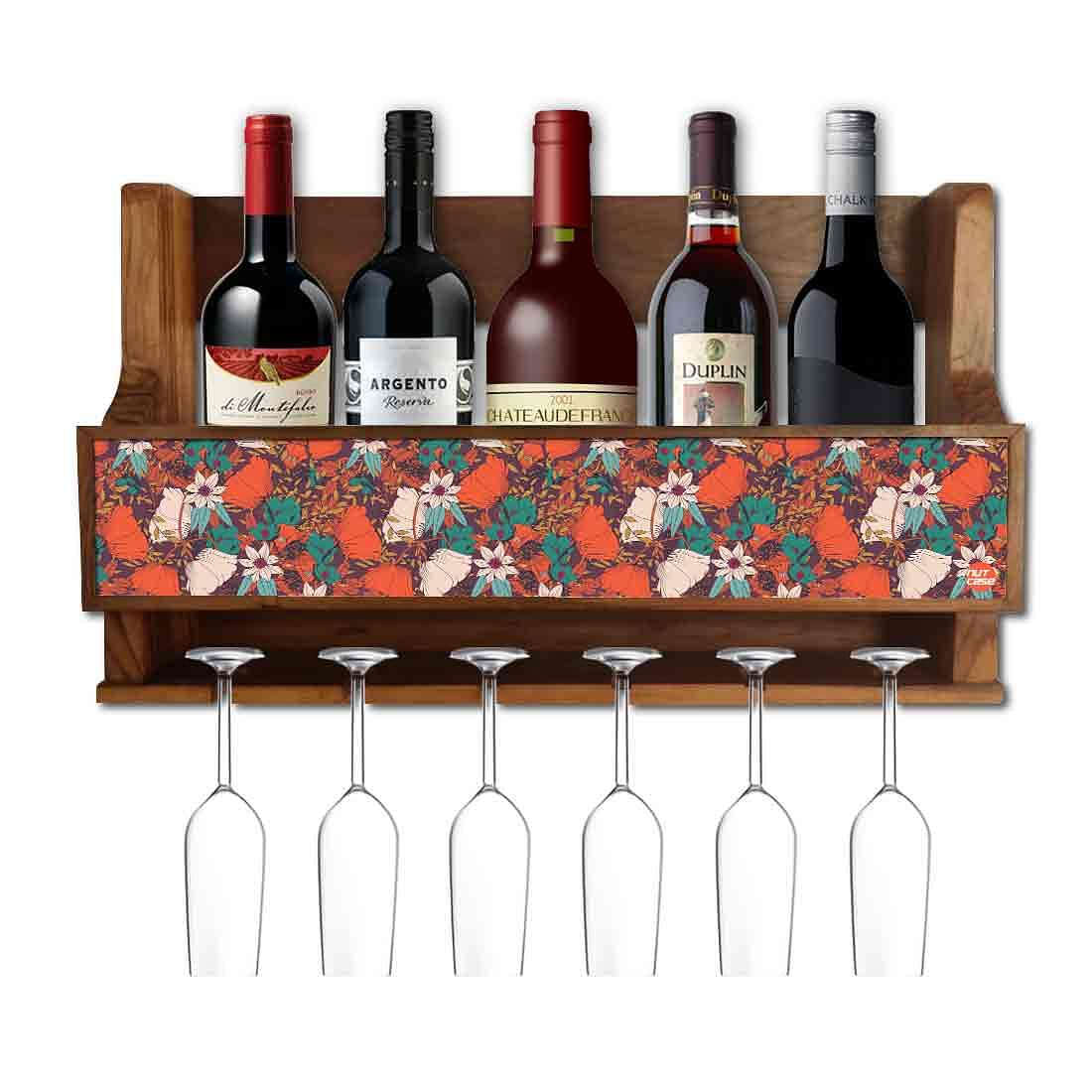 Nutcase Designer Wooden Wine Rack Gloss Holder, Teak Wood Wall Mounted Wine  Cabinet , 5 bottle Hangers for 6 Wine Glasses -  Elegance