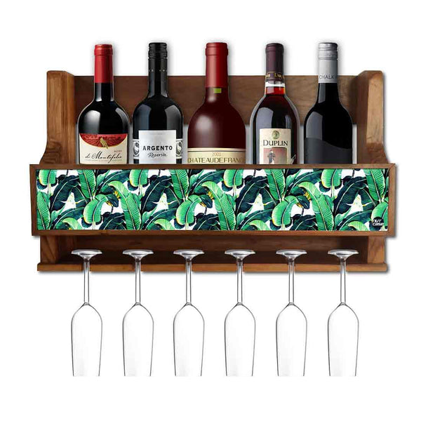 Nutcase Designer Wooden Wine Rack Gloss Holder, Teak Wood Wall Mounted Wine  Cabinet , 5 bottle Hangers for 6 Wine Glasses -  Banana Leaves