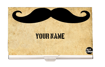 Customised Visiting Business Card Holder Case - Hipster Mustache