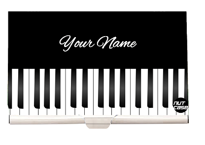 Designer Personalized Business Card Holder Metal Case - Piano Music