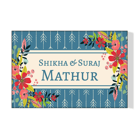Personalized Floral Name Plate For Home Flower Designs