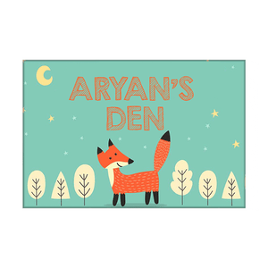 Children's Personalized Room Name Plate -  Fox & Tree.