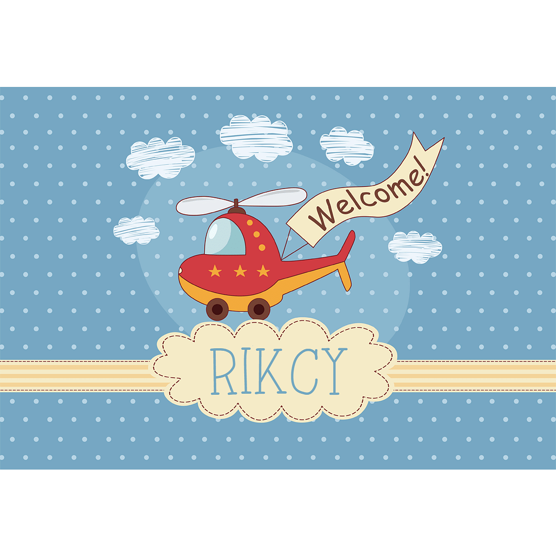 Children's Name Plate Door Sign -  Helicopter & Clouds.