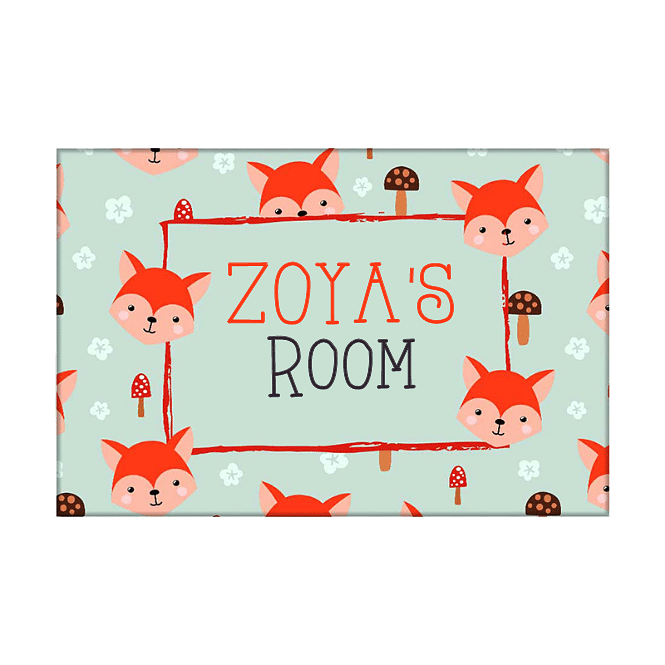 Children's Name Plate Door Sign -  Mushroom & Cute Fox.