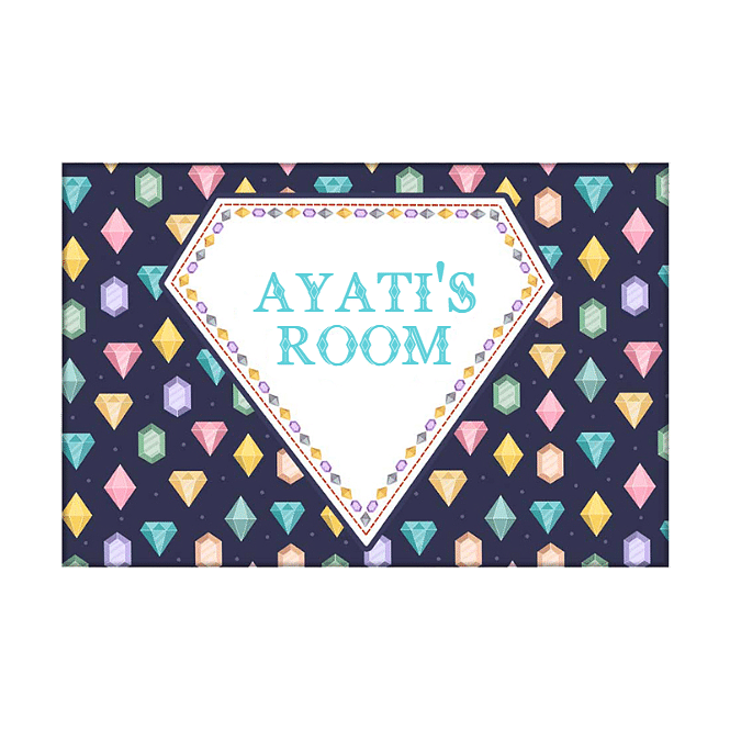 Children's Name Plate Door Sign -  Colorful Diamonds.