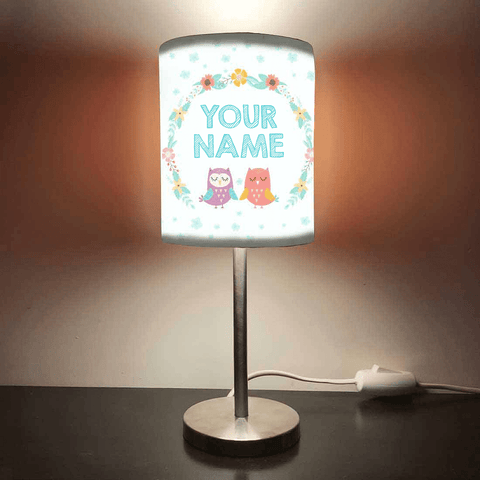 Personalized Kids Bedside Night Lamp-Flower And Owl