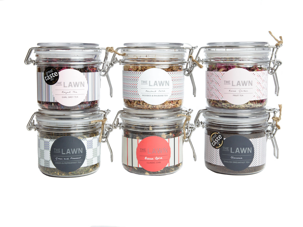 Tea Blends Collection, 6 Jars with Pink Tea Towel