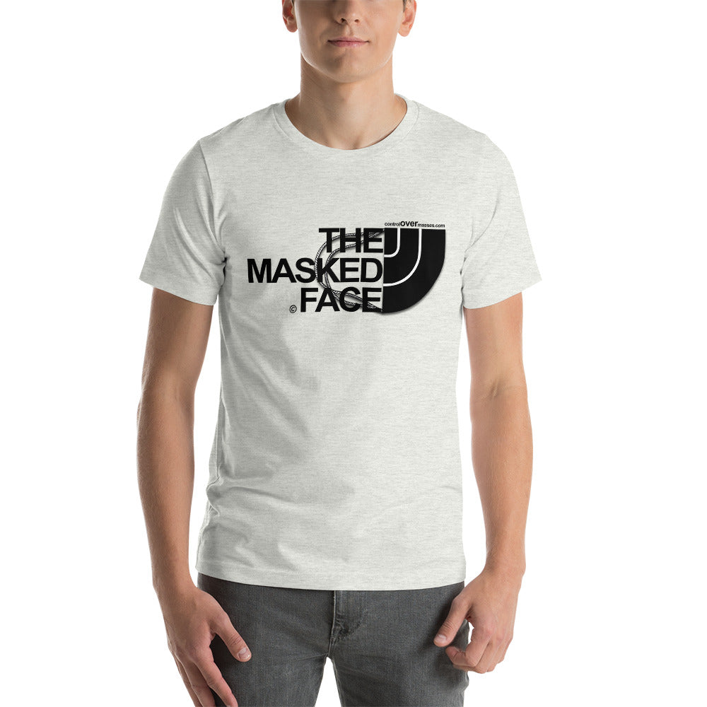 MASKED FACE COLOR TEE BLK LTRS - Short-Sleeve Unisex T-Shirt