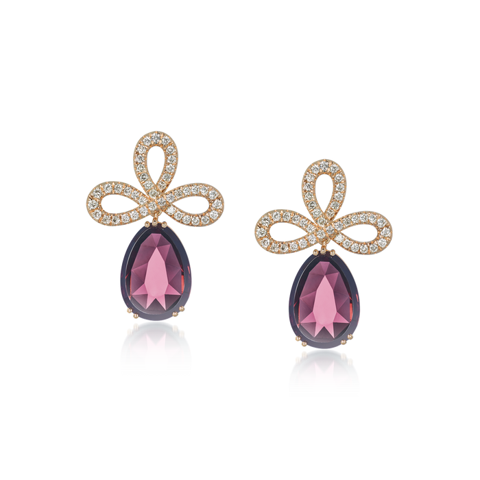 David Rosas Earrings Rose Gold Rhodolite Drop And Diamond Tie
