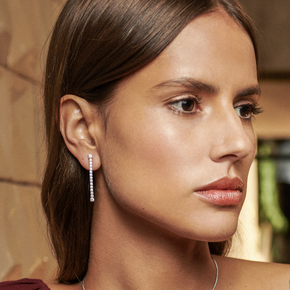 David Rosas Mesh Earrings In White Gold With Diamonds