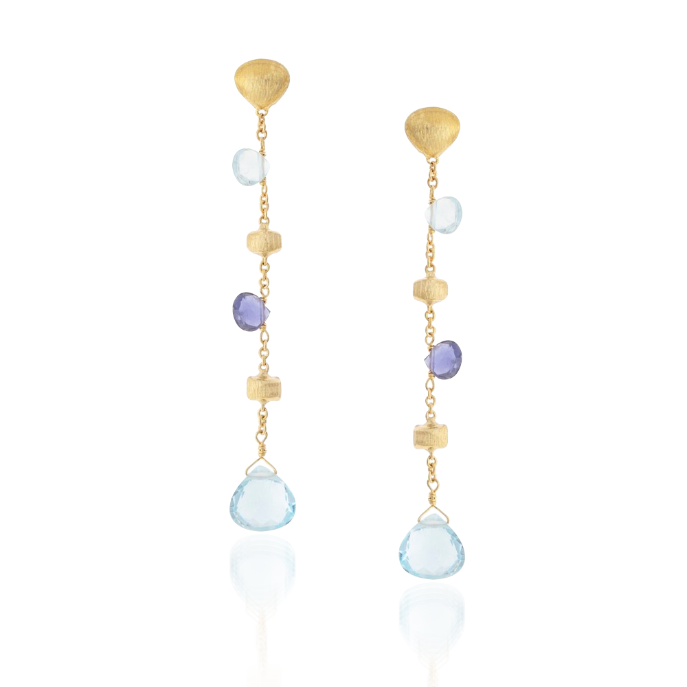 Marco Bicego Paradise Earrings Yellow Gold & Mixed Stones