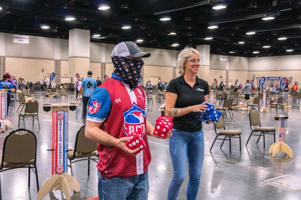 ACO pro cornhole player Shawn Preece checks out PIPFALL at the ACO Knoxville Major onMarch 20, 2021.