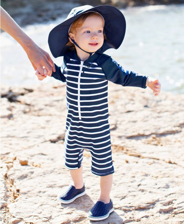 One-Piece Swimsuit - Navy Stripe