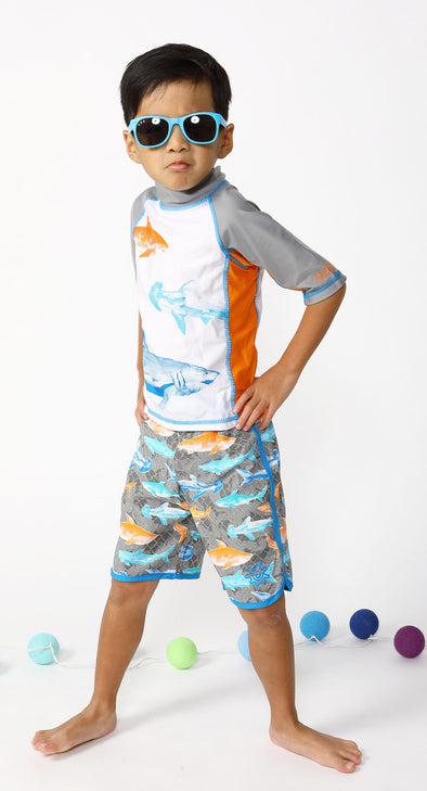 Short Sleeve Rash Guard Set - Shark Tank