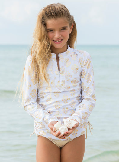 Long Sleeve Rash Guard Set - Gold Rio