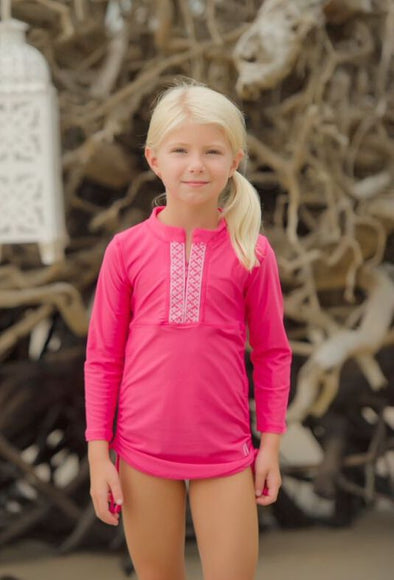 Rashguard Top - Pink Embroidered