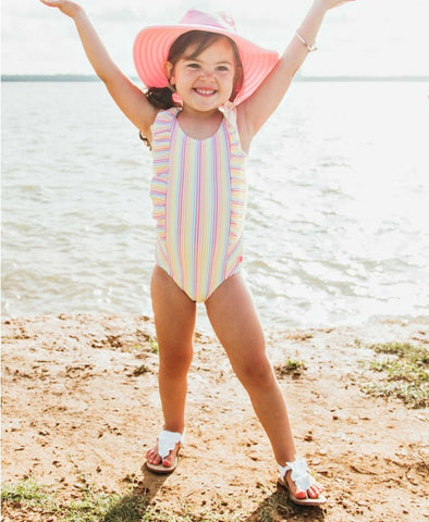 Sleeveless One Piece - Rainbow Stripe Waterfall