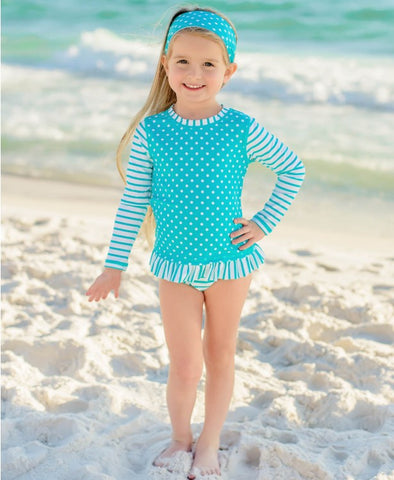 Long-Sleeved Two-Piece - Aqua